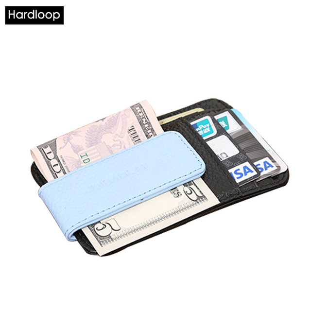 Hardloop Card Wallet Money Clip Genuine Leather Slim Purse Small Purse Vintage Men Short Money Case Moneyclip Black