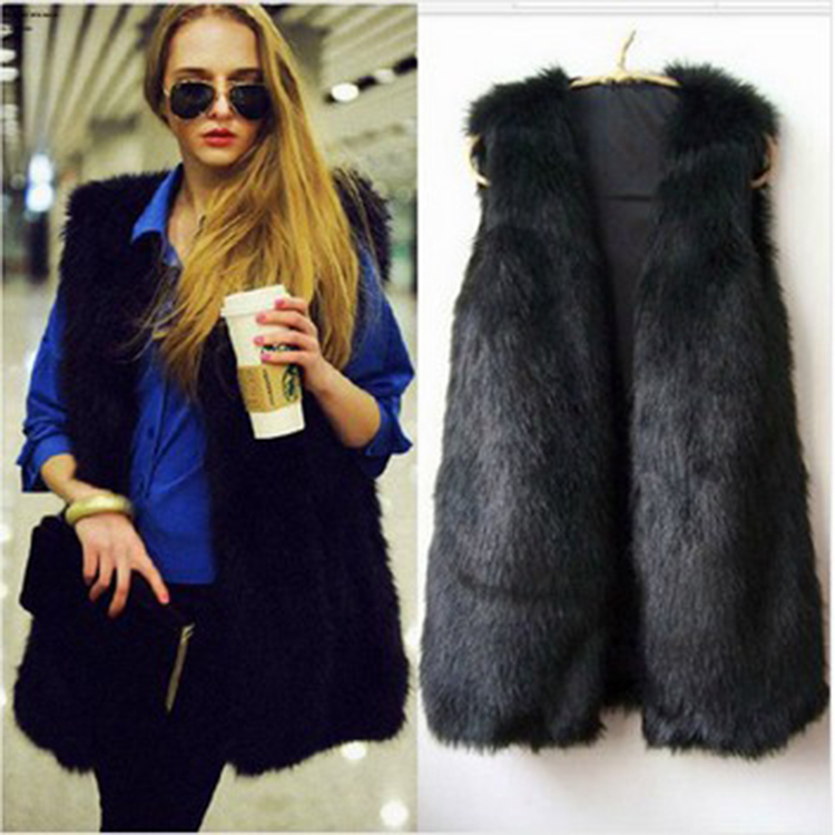 Fashion Women Waistcoat Waistcoat Slim Faux Fur Sleeveless Long