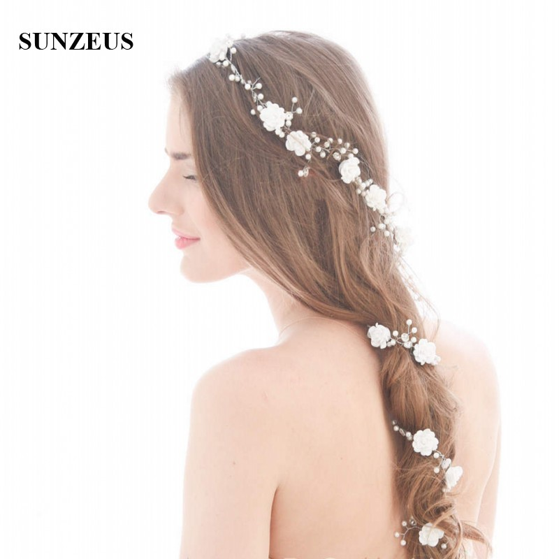 font b Beautiful b font Hand made Flowers Pearls Bridal Hair Chain 90 CM Long