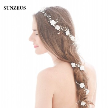 Beautiful Hand made Flowers Pearls Bridal Hair Chain 90 CM Long Wedding Head Sash Headband Accessories
