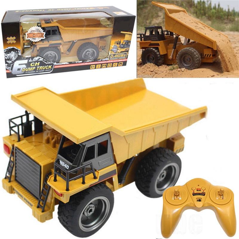1:12 Scale 6 Channel Alloy Electric RC Dump Truck Buggy Vehicle Toy Children Remote Control Engineering Car Truck Toys Fun Gifts