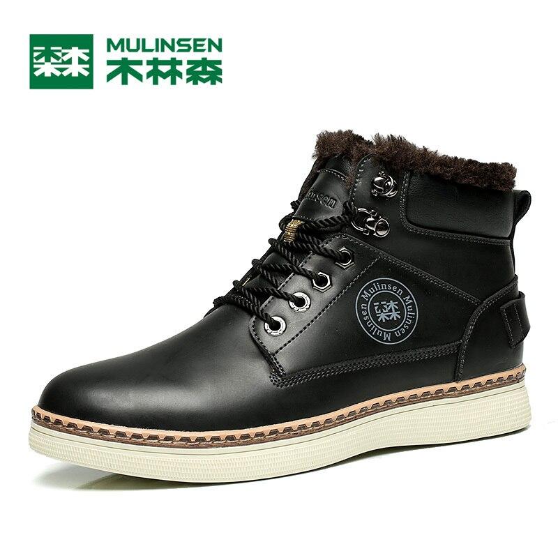 ФОТО Mulinsen Autumn&Winter Men's Sports Hiking Shoes Black/Blue/Brown Sport Shoes inside Plush Wear Non-slip Outdoor Sneaker 260115