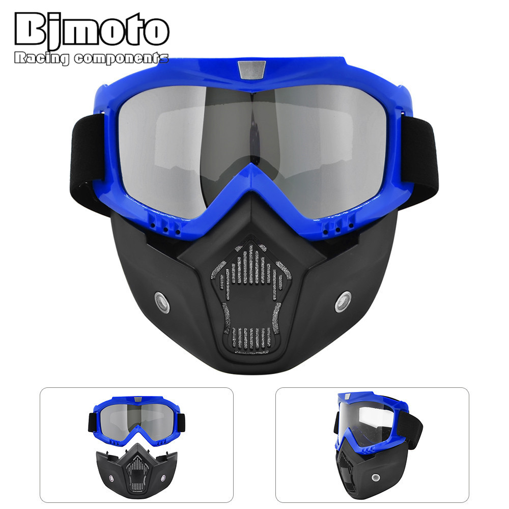 Bjmoto Scooter helmet glasses Atv goggles motorcycle detachable goggles Dirt bike Flexible Goggles Nose Face Protector glasses