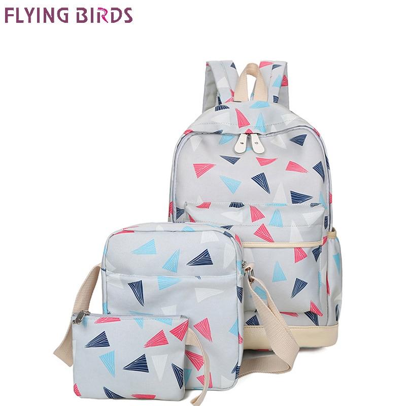 FLYING BIRDS Printing Backpacks 3pcs/set fashion School Bags For Teenagers Girls Cute School Bag Lady Bookbag Travel bag new
