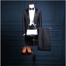 NA31 Groom Tuxedos Groomsman Blazer Men's Wedding Dress Prom Clothing Tuxedos (Jacket+pants+Vest) Black Long Style Male Suits