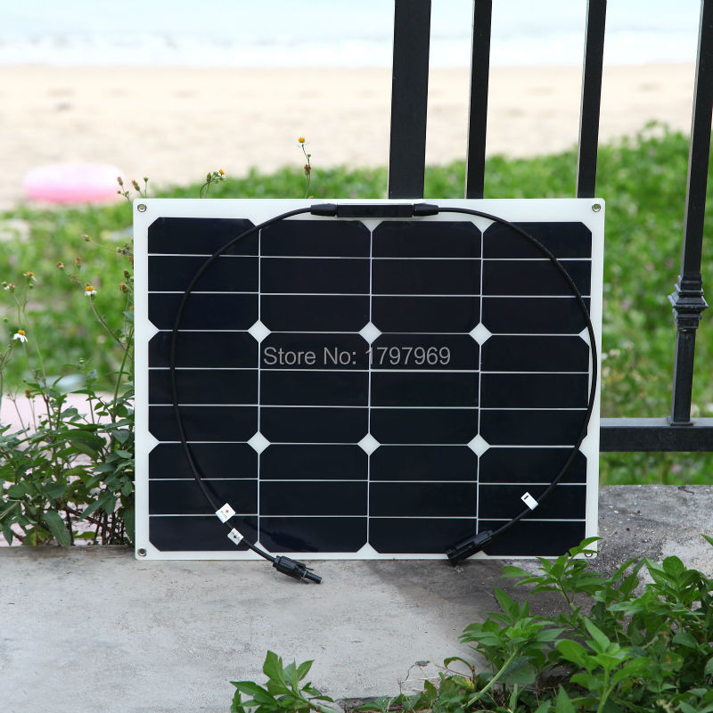 BOGUANG 40W flexible solar panel MC4 connector high efficiency solar cell solar module for RV boat yacht motor-home car solarparts 2x 180w flexible solar panel cell system diy kits 12v for rv boat home front junction box mc4 connector 125 125mm sun