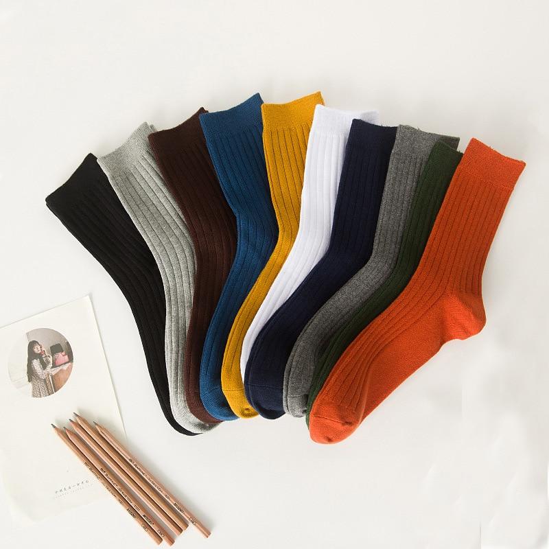 And Winter Korean Sweat Ventilation Deodorization Male Korea Autumn New Product Solid Color Vertical Bar Cotton Socks