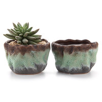 T4U 4.25Air Bubble Glaze Square Sucuulent Cactus Plant Pots Flower Pots Planters Containers Window Boxes Green 1 pack of 2