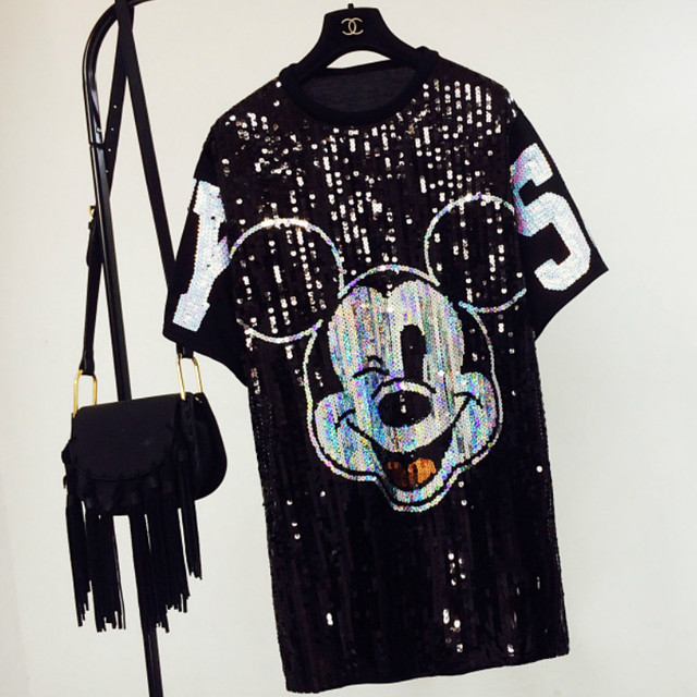 Chic Woman Cartoon Mickey sequins loose Oversized Long T-shirt Hiphop Numbers Short sleeved splicing Sequined Tops Streetwear
