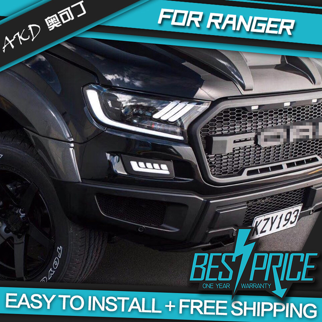Akd Cars Styling Headlight For Ford Ranger Everest Mustang Type Headlights Led Running Lights Bi