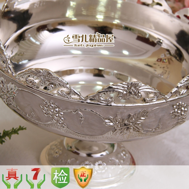 European fruit bowl glass carved silver zinc fruteira alloy luxury KTV peel bowl creative peel Home Furnishing decorative bowls