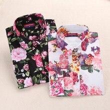 Новое поступление Для женщин Блузки для малышек цветочный рубашка с длинными рукавами Для женщин тоньше плюс Размеры 5xl Лето Топы корректирующие хлопковые Блузы Повседневное женская одежда