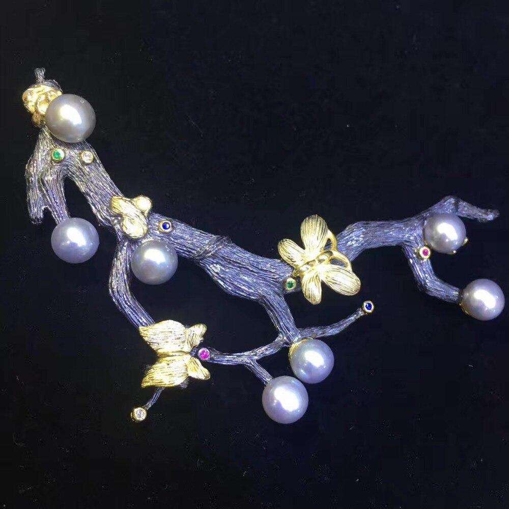 Véritable naturel eau douce perle broche broches branche d'arbre vintage mode femmes bijoux blanc gris violet couleur papillon - 5