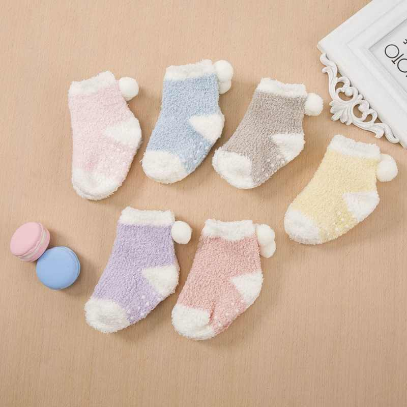 2019 г., зимние теплые носки на крестины, Bebe, хлопоковый для новорожденных малышей Детские вязаные флисовые Носки-тапочки гетры