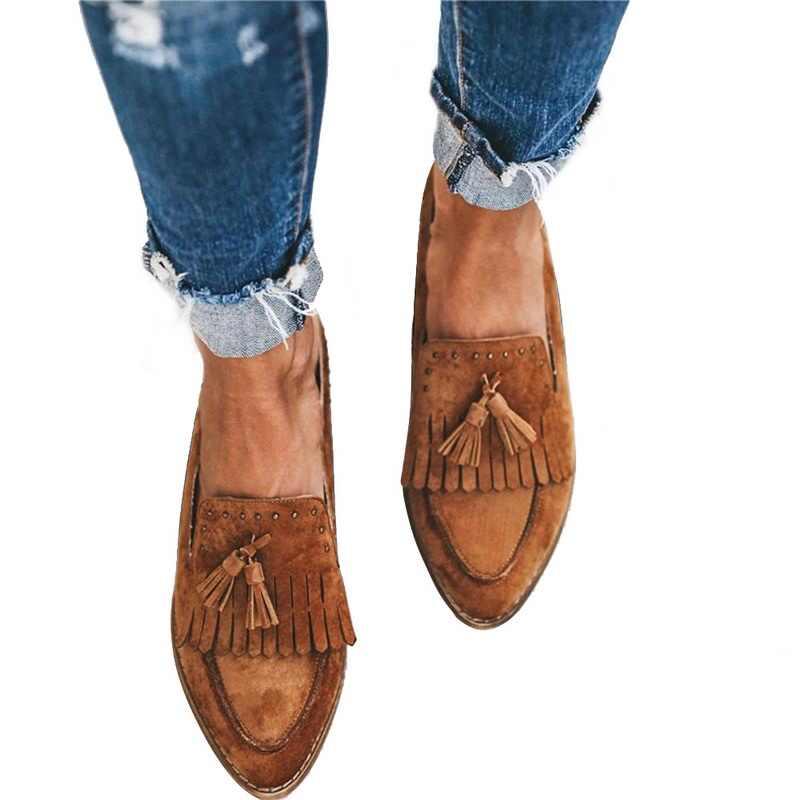 Casual Comfortabele Kwastje Wees Teen Flats Schoenen Voor Vrouwen Vintage Fashion Dames Solid Anti Slip Slip Op Loafers