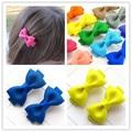 Solid fashion baby girl ribbon mini hair clip pin accessories for children hair bow barrette hairpin hairgrip headwear headdress