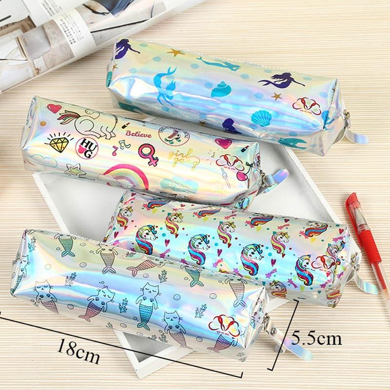 Laser Rainbow Unicorn Pencil Case Cactus Mermaid Pencil Bag For Kids Girls Gifts Pen Box School Pencilcase Stationery Supplies