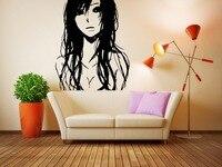 Wall Vinyl Sticker Decals Mural Room Design Art Sad Anime Girl Long Hair