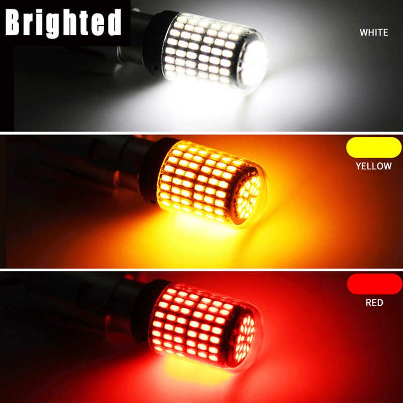 รถ 12V LED 3014 144 SMD BA15S 1156 BA15D 1157 CANbus หลอดไฟ LED ไม่มีข้อผิดพลาดอัตโนมัติเบรคโคมไฟเลี้ยวไฟย้อนกลับ