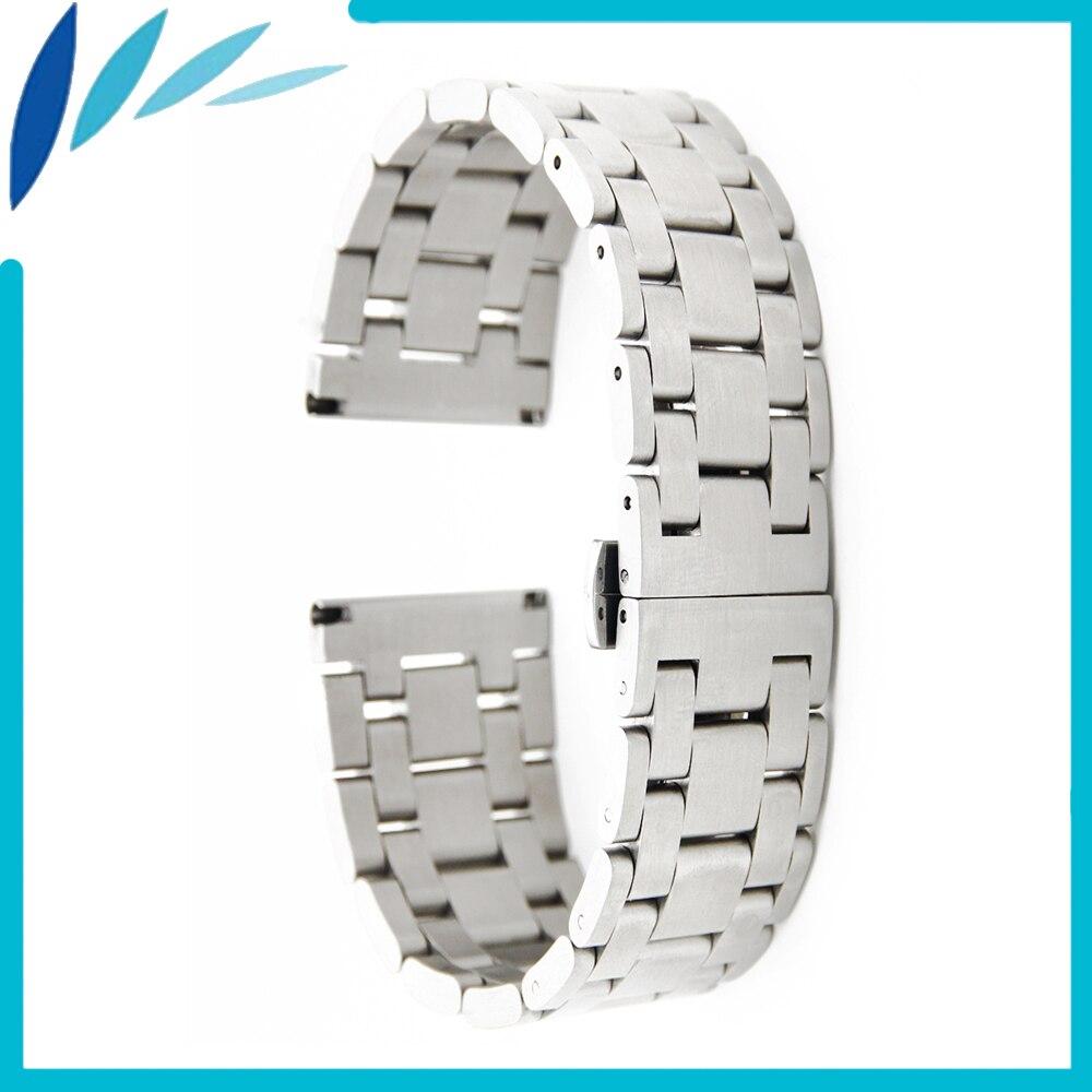 Bracelet de montre en acier inoxydable 26mm 28mm Bracelet de montre universel fermoir papillon Bracelet boucle de poignet ceinture Bracelet argent + barre de printemps