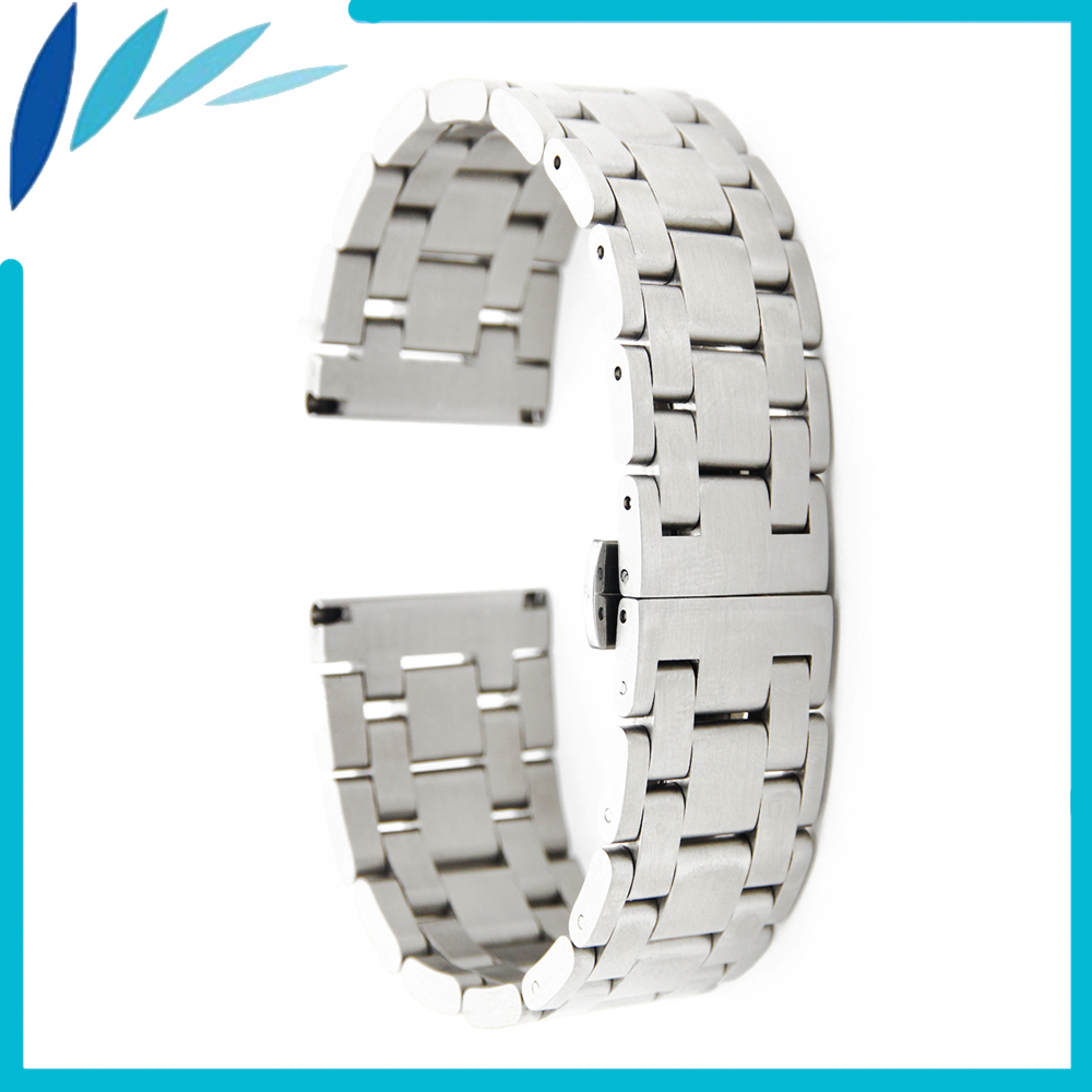 Stainless Steel Watch Band 26mm 28mm Universal Watchband Butterfly Clasp Strap Wrist Loop Belt Bracelet Silver + Spring Bar 28mm convex stainless steel watchband replacement watch band butterfly clasp strap wrist belt bracelet black rose gold silver page 6