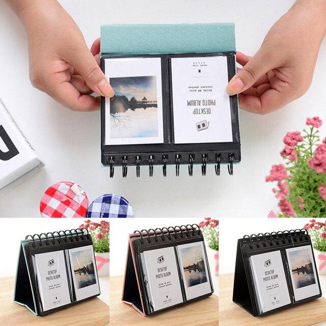 Mini Portable 68 Pockets Desk Calendar Album Photos Album Weddings Baby Photos Valentine Mother Day Gift for 3 inches Photos