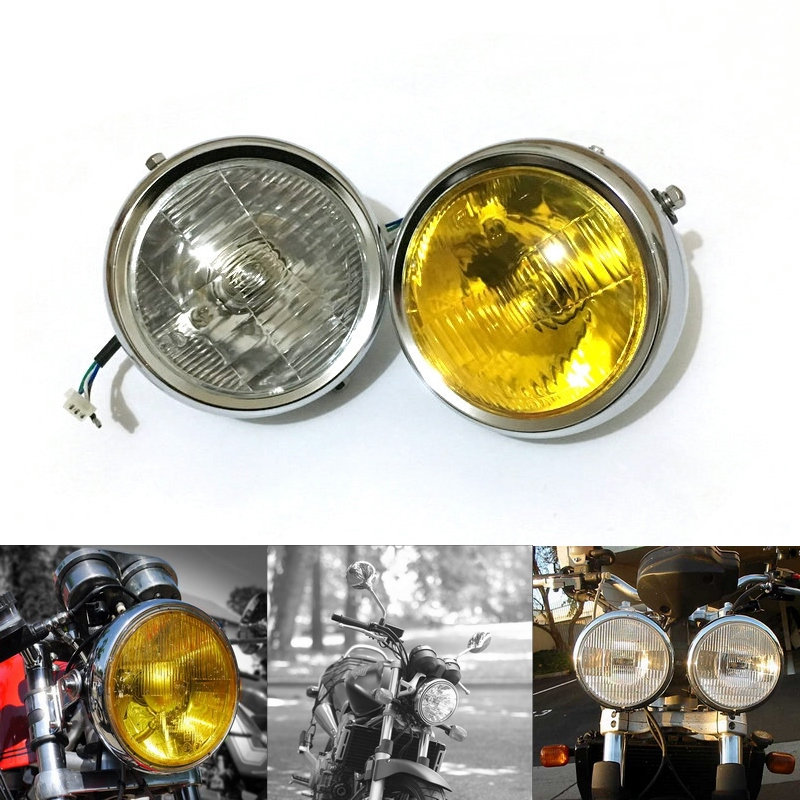 цена на Headlight Motorcycle For Honda Cafe Racer Headlight Vintage Round Chrome Halogen Light