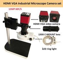 A câmera industrial do microscópio de digitas hdmi vga ajusta o microscópio de vídeo hd 13mp 60f/s + 130x c montagem da lente + conduziu a luz do anel + suporte do metal