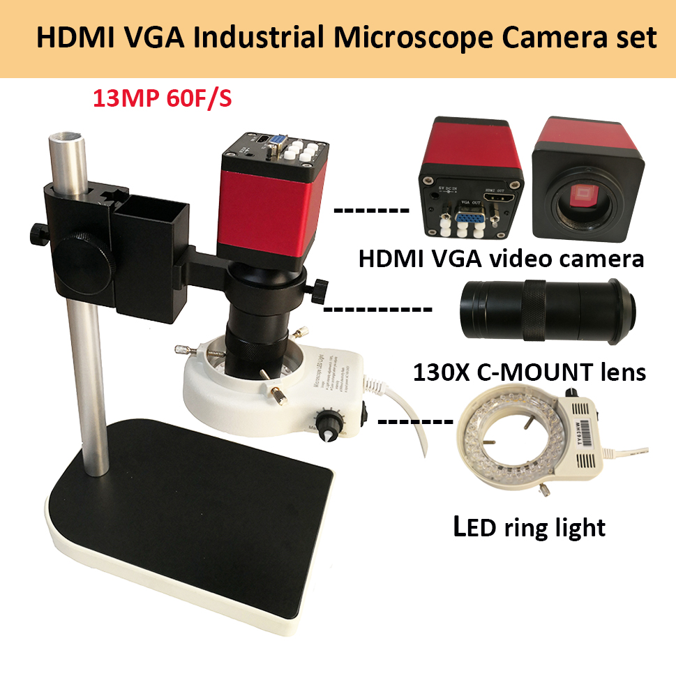 Digital HDMI VGA Industrial Microscope Camera video Microscope sets HD 13MP 60F/S+130X C mount lens+LED ring Light +metal stand free shipping hd industry microscope camera 2 0mp vga usb cvbs av tv outputs 8x 130x c mount lens