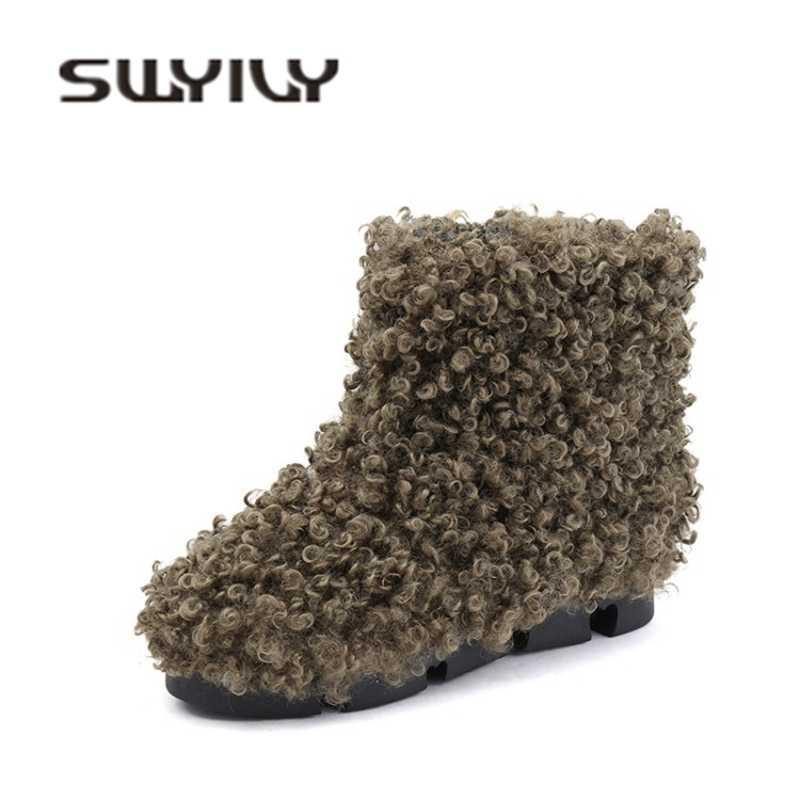 SWYIVY kadın kar botları ayakkabı orta buzağı kadife kürk 2018 kış sıcak bayanlar sıcak pamuk yastıklı Snowboots ayakkabı kadın kar çizmeler