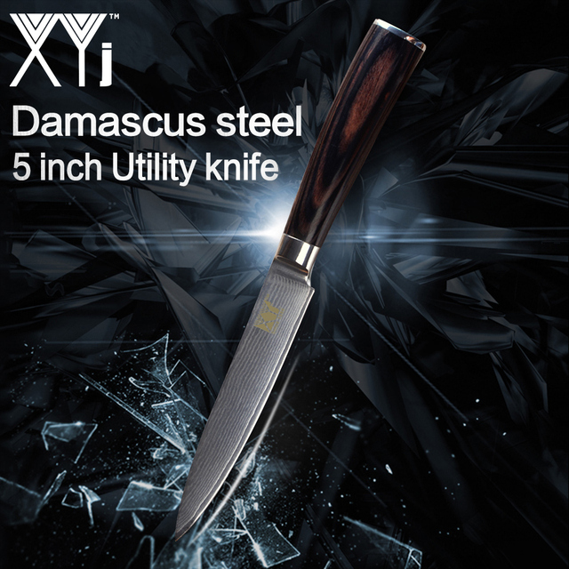 XYj 5 inch Kithchen Knife New Arrival 2018 Japanese Damascus Steel Blade VG10 Color Wood Handle Utility Knife Damascus Pattern