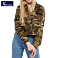 2017 Spring Autumn Street Fashion Army Green Women Slim Camouflage Coat Turn-down Collar Pocket Long Sleeve Outwear Jacket