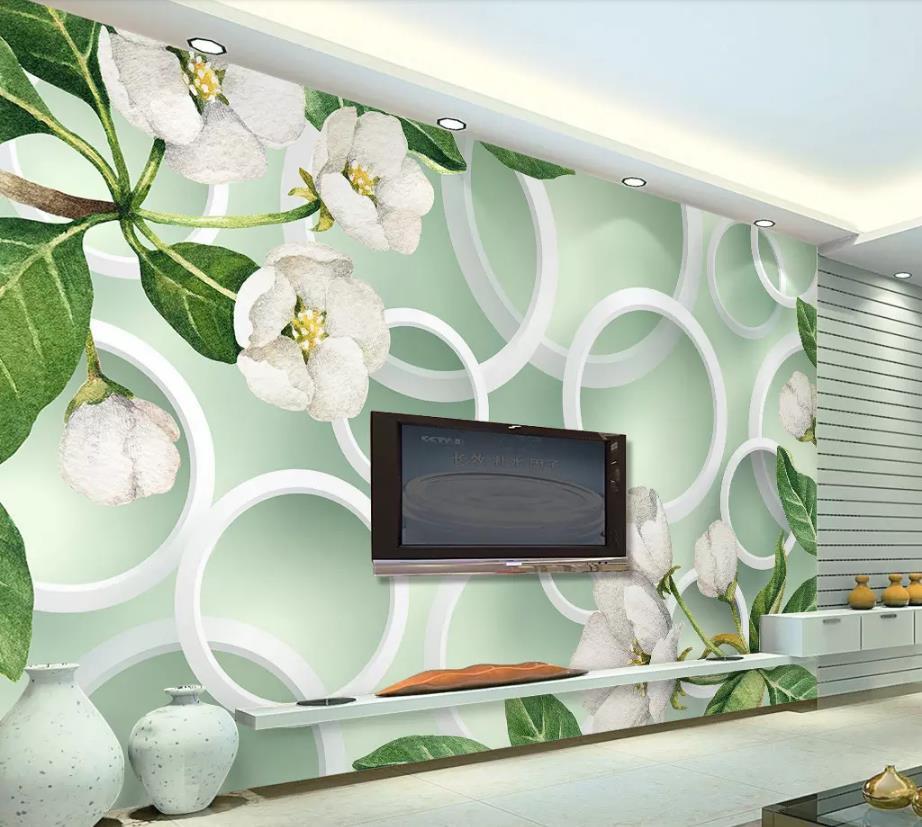 living silk mural circle fresh flower modern 3d kitchen
