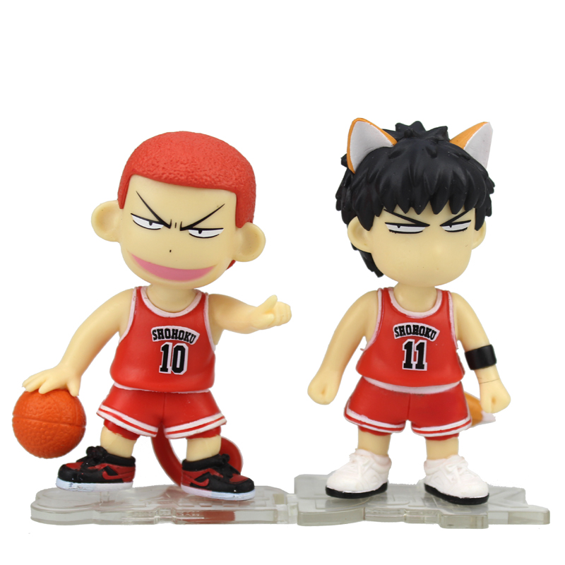 "Cute 3.5"" <font><b>Slam</b></font> <font><b>Dunk</b></font> Anime Slamdunk Hanamichi Sakuragi Monkey & Rukawa Kaede Fox Boxed PVC <font><b>Action</b></font> <font><b>Figure</b></font> Model <font><b>Doll</b></font> <font><b>Toys</b></font> Gift"