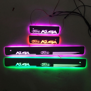 For KUGA Door Dynamic LED Lamp Sill Scuff Plate Welcome Pedal Car Styling Twinkle door sills lighting FOR Ford Kuga