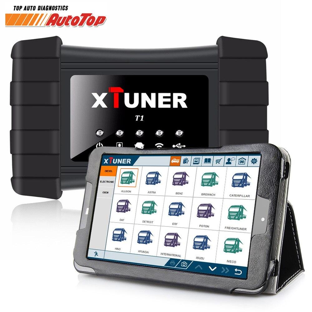 2018 XTUNER T1 camión pesado herramienta de diagnóstico con Airbag DPF ABS OBD2 escáner para camiones + 8 pulgadas Winows10 tablet Autoscanner