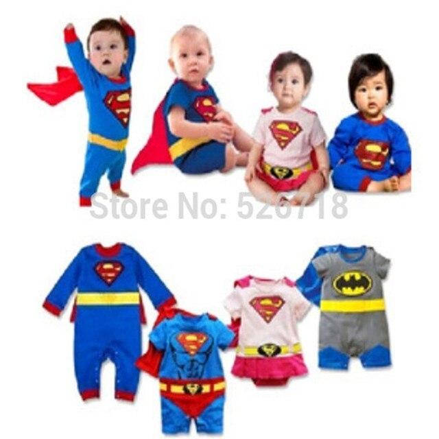 Hot! 2015 Nova Moda Dos Desenhos Animados de Algodão Crianças Meninos Roupas Macacão Macacão de Bebê Menino Superman Batman Romper Do Bebê Traje Do Bebê Gilr