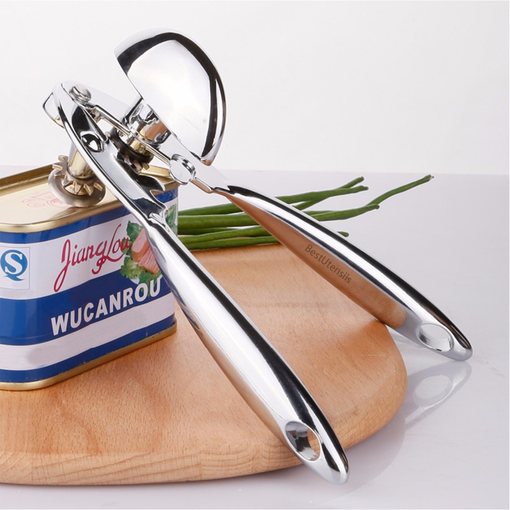 New Zinc Alloy Can Opener For Canned Food With Ergonomically Shaped Thumb-Screw Heavy Duty Jar Bottle Opener Kitchen Accessories