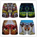 MR fast-drying beach shorts 3D colorful animals zombies devil black white striped man   breathable board shorts