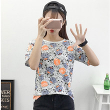 Casual Print Character Wolf T-shirts for women Cute student Short sleeves Tops Tees fashion Loose plus size female t shirt