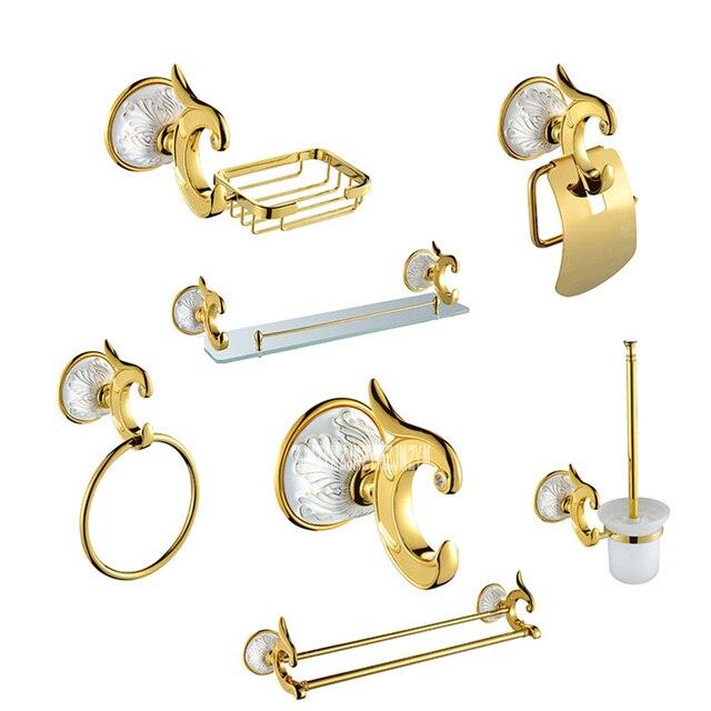 Luxury Antique Gold Bathroom Hardware Hanger Set Towel Bar Hook Soap Paper Holder Brush Bathroom 7 Pieces Combination of Package