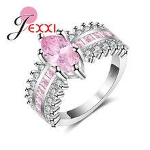 JEXXI Modern Oval Pink Crstal with Micro Square Paving Setting Finger Rings Sterling Silver 925 Jewelry for Women Engagement