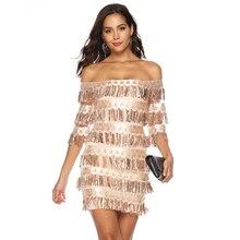 c425fd1efa5b3 Women's Sexy dress Slash neck Half sleeve Tassel Hip Mini Sequin dresses  Nightclub Female Party dress