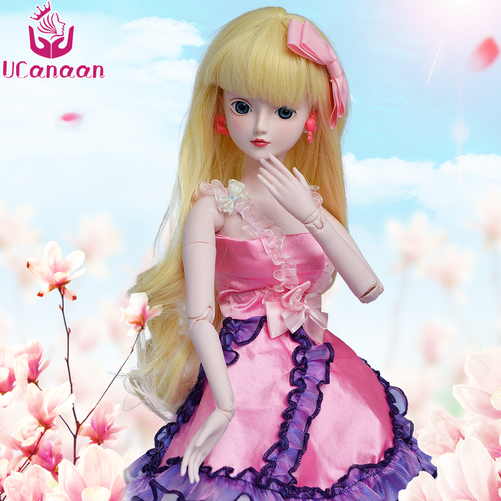 UCanaan 1/3 BJD Doll 60CM 19 Ball Joints SD Dolls With Outfit Dress Shoes Wigs Free Makeup Girls Dressup Doll