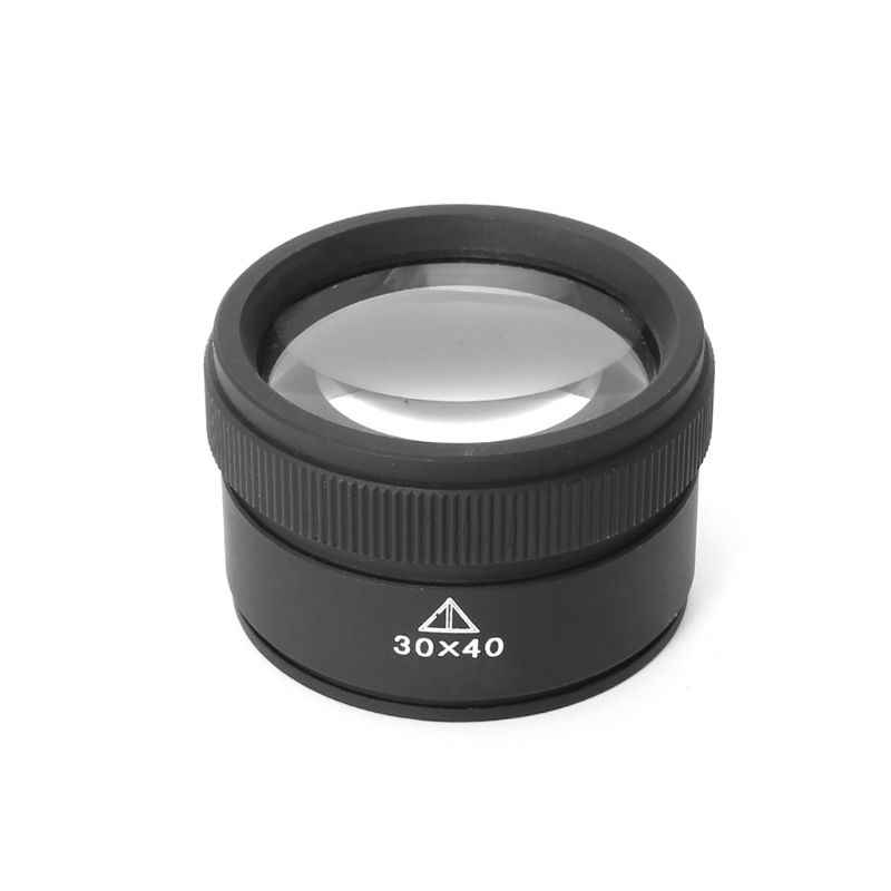 30X Optics Loupe Metal Magnifier Jeweler Coins Stamps Magnifying Glass Lens Measure Tools