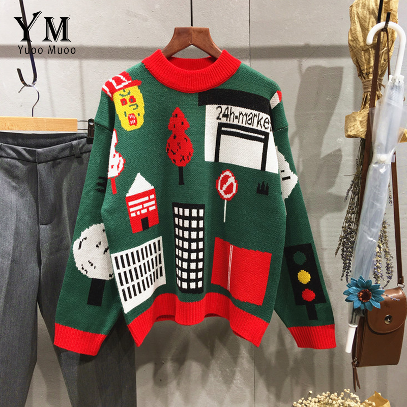 YuooMuoo New High Quality Christmas Sweater Autumn Winter O neck Women Pullovers Casual Long Sleeve Tops Santa Claus Knitted Top