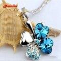 Четыре Листа Клевера Ожерелья Подвески Сердце Кристалл с Элементами Swarovski Позолоченные Старинные Ювелирные Изделия Для Женщин rhinesto