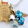 Four Leaf Clover Necklaces Pendants Heart Crystal from Swarovski Elements Gold Plated Vintage Fashion Jewelry For Women rhinesto