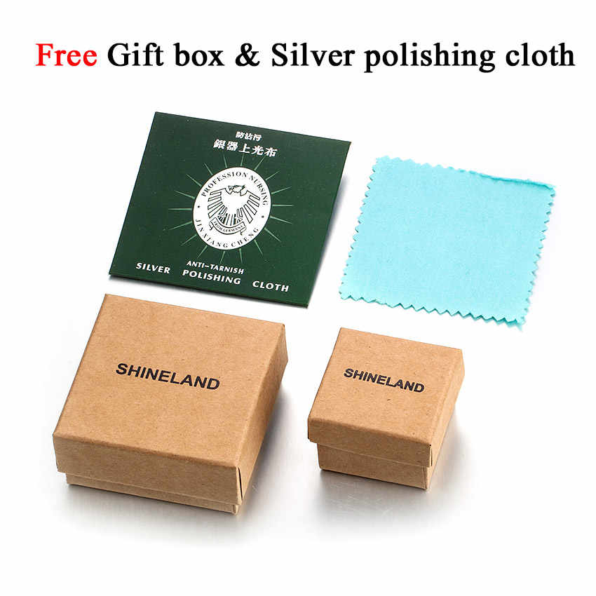 Shineland décontracté Double cercle collier 925 en argent Sterling pendentif accessoires Mujer collier de verrouillage pour les femmes ami cadeaux