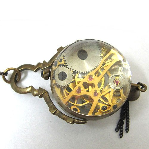 fashion style See Through Antique Bronze Pocket Watch CAIFU Bell Xmas freeship cool